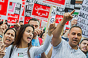 "Stop the 'massacre' in Gaza protest. They assembled at the Israeli Embassy. They called for ""Israel's bombing and killing to stop now and for David Cameron to stop supporting Israeli war crimes"". London, 01 August 2014. Guy Bell, 07771 786236, guy@gbphotos.com"