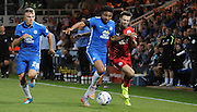 Gwion Edwards trying to break forward during the Capital One Cup match between Peterborough United and Crawley Town at London Road, Peterborough, England on 11 August 2015. Photo by Michael Hulf.
