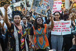London, July 8th 2016. Hundreds gather on London's Southbank before marching through the streets of London to Parliament Square, Downing Street and the BBC, in a Black Lives Matter protest in solidarity with Americans following the shooting dead of two black men, Philando Castile in Minnesota and Alton Sterling in Louisiana by police in the US. PICTURED: The crowd marches towards the BBC.