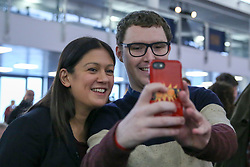 © Licensed to London News Pictures. 16/02/2020. London, UK. A Labour party member takes a selfie with Labour leadership candidate LISA NANDY MP for Wigan at a hustings event hosted by the Co-operative Party held at Business Design Centre, north London. Photo credit: Dinendra Haria/LNP