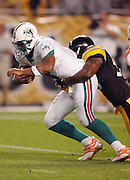 PITTSBURGH - SEPTEMBER 7:  Quarterback Daunte Culpepper #8 of the Miami Dolphins gets sacked by linebacker Joey Porter #55 of the Pittsburgh Steelers at Heinz Field on September 7, 2006 in Pittsburgh, Pennsylvania. The Steelers defeated the Dolphins 28-17. ©Paul Anthony Spinelli *** Local Caption *** Daunte Culpepper;Joey Porter