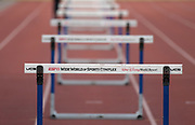 Hurdles on the ESPN Wide World of Sports Complex track  in Kissimmee, Fla., Thursday, Jan. 25, 2018.