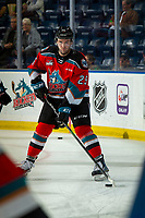 KELOWNA, BC - NOVEMBER 1:  Kobe Mohr #25 of the Kelowna Rockets warms up on the ice with the puck for his first game as a Rocket against the Prince George Cougars at Prospera Place on November 1, 2019 in Kelowna, Canada. (Photo by Marissa Baecker/Shoot the Breeze)