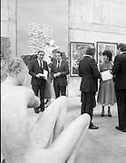The G.P.A.awards for Emerging Artists..(Guinness Peat Aviation).1984..23.09.1984..09.23.1984..23rd September 1984..The award ceremony was held at The Royal Hibernian Academy of Arts,Gallagher Gallery,Ely Place,Dublin..Image of Mr Tom Ryan,President,R.H.A and Mr Ted Nealon TD,Minister for Arts and Culture as they discuss a sculpture of a sitting nude.