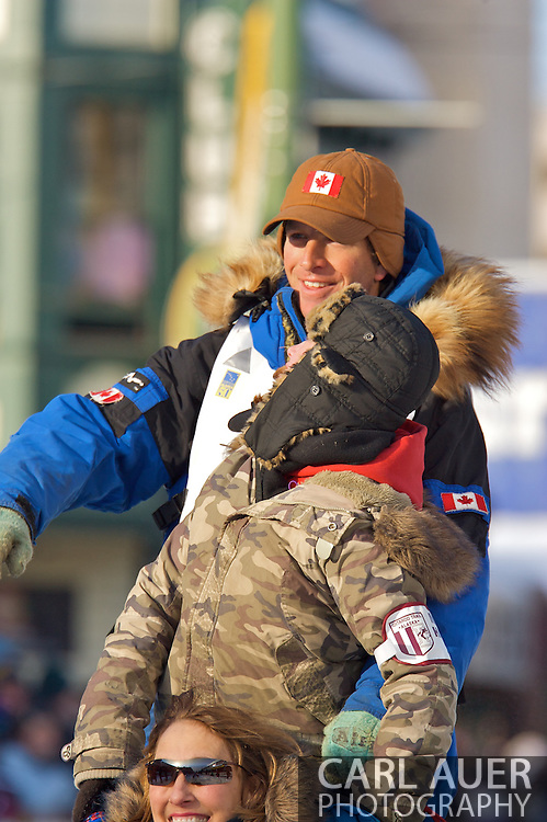 March 7th, 2009:  Anchorage, Alaska - Aaron Peck from Grande Prairie, Alberta, Canada on 4th Avenue to start the 2009 Iditarod.