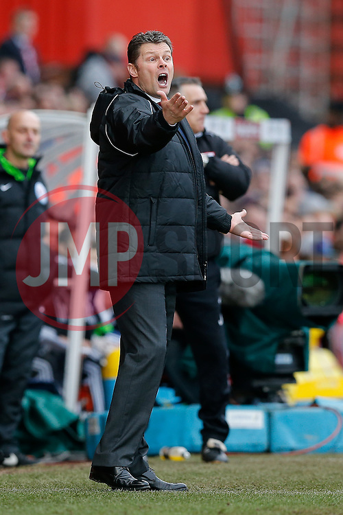 Bristol City Manager Steve Cotterill looks animated - Photo mandatory by-line: Rogan Thomson/JMP - 07966 386802 - 25/01/2015 - SPORT - FOOTBALL - Bristol, England - Ashton Gate Stadium - Bristol City v West Ham United - FA Cup Fourth Round Proper.