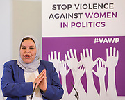 Najat Alasttal. Session 8: RECOMMENDATIONS TO PROTECT WOMEN'S RIGHT TO PARTICIPATE IN POLITICS FREE FROM VIOLENCE 'Violence Against Women in Politics' Conference, organised by all the UK political parties in partnership with the Westminster Foundation for Democracy, 19th and 20th of March 2018, central London, UK.  (Please credit any image use with: © Andy Aitchison / WFD