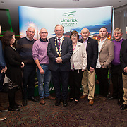 10.10. 2017.          <br /> Pictured at the Limerick Going for Gold 2017 finals in the Strand Hotel were, Mayor of the City and County of Limerick Cllr Stephen Keary with members of the Athea Tidy Towns.<br /> <br /> <br /> Limerick Going for Gold, which is sponsored by the JP McManus Charitable Foundation, has a total prize pool of over €75,000.  It is organised by Limerick City and County Council and supported by Limerick's Live 95FM, The Limerick Leader and The Limerick Chronicle, The Limerick Post, Parkway Shopping Centre, I Love Limerick and Southern Marketing Media & Design. Picture: Alan Place