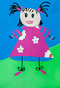 Naive children's style painting of a preschool aged girl with pigtails in blue, green, red and yellow