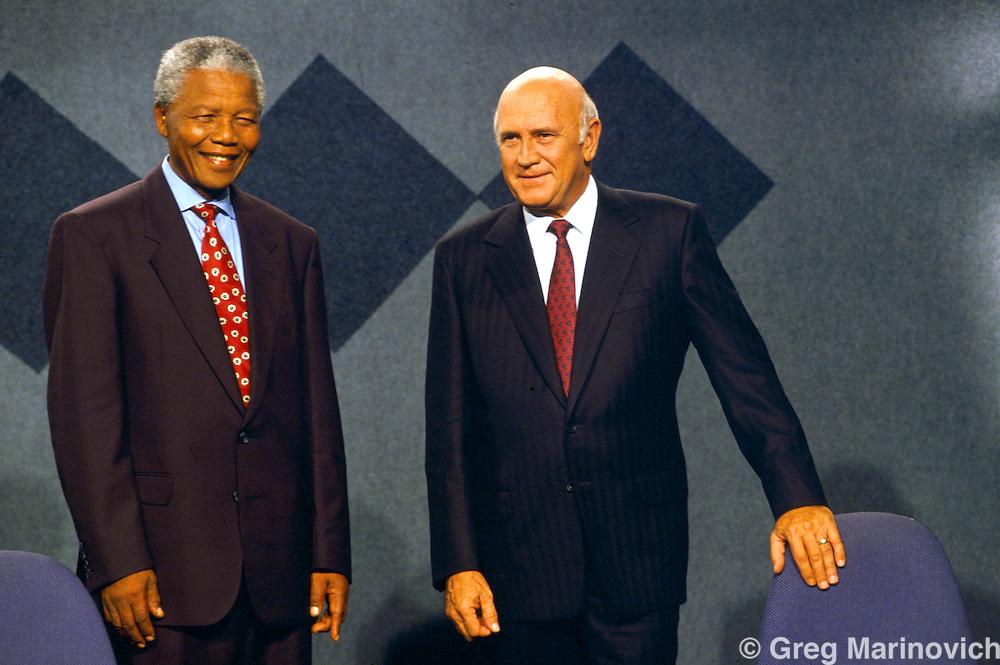 ANC leader Nelson Mandela with President F.W. de Klerk, South Africa, 1994