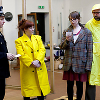 "Picture shows : Johnny McKnight as Callum ( Policeman), Sally Reid as Marie, Ros Sydney as Morag   and Greg Hemphill  as  Finlay..Rehearsal of the forthcoming National Theatre of Scotland production 'An Appointment with The Wicker Man'..Picture © Drew Farrell  ( Tel : 07721-735041 ).On a remote Scottish island, the Loch Parry Theatre Players mount their am-dram version of The Wicker Man. When their lead actor goes missing in mysterious circumstances, they call on the services of a television cop from the mainland to step in and save their production. ..The play opens at the MacRobert Arts Centre, Stirling on 18th February 2012 before touring Aberdeen, Glasgow, Inverness and Dunfermline...The Wicker Man regularly tops ""Best Horror Film of All Time"" lists and is regarded as a true film classic. With an unforgettable sense of creeping dread, a wonderfully memorable score by Paul Giovanni, career defining performances from Edward Woodward and Christopher Lee it also has arguably the best ending in cinema history. Now, in an affectionate new adaptation, the National Theatre of Scotland gives a gallus round of applause to this immortal chronicle of strange goings-on in a wee village. 