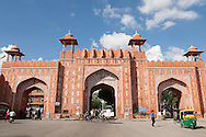 Ajmeri Gate is one of the arched entrances into the Pink City of Jaipur. The gate is decorated with floral motifs above the central door. The walls were built by Maharaja Jai Singh when Jaipur was first built as India's first planned city.