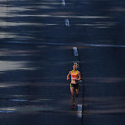 Sara Bard, Somerville, Massachusetts, the third placed women in the ING Hartford Marathon, Bushnell Park, Hartford. Connecticut. USA. Hartford, Connecticut, USA. 12th October 2013. Photo Tim Clayton