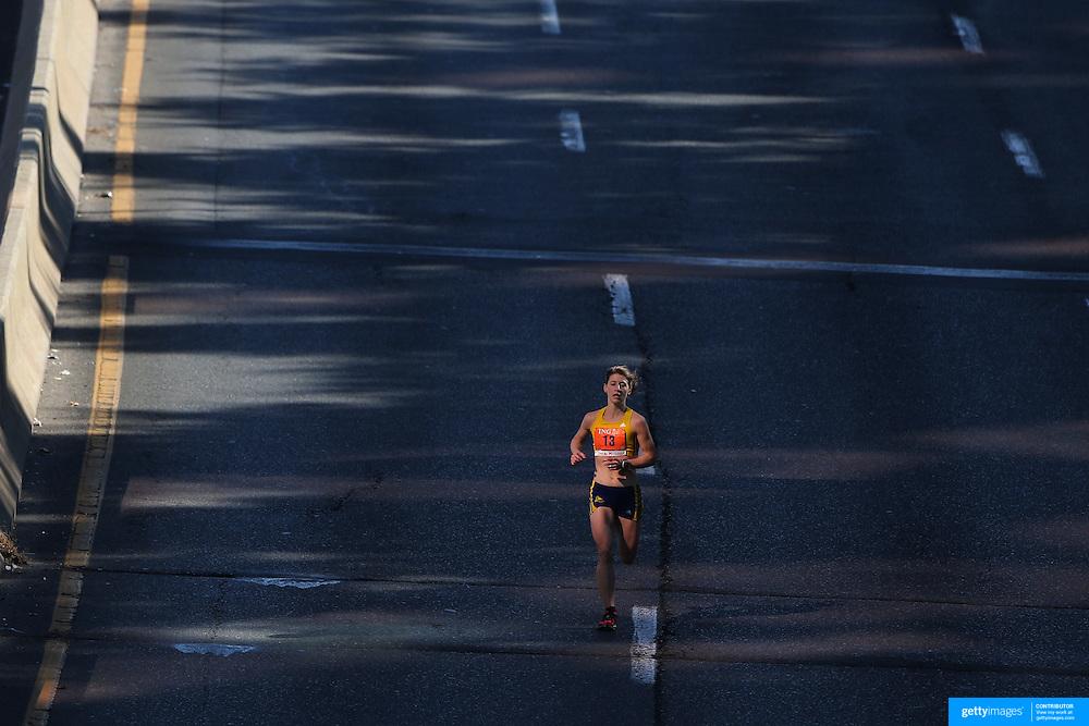 Sara Bard, Somerville, Massachusetts, the third placed women in the ING Hartford Marathon, Bushnell Park, Hartford. Connecticut. USA. Hartford, Connecticut, USA. 12th October 2013. Photo Tim Clayton