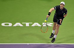 DOHA, Jan. 7, 2017  Andy Murray of Britain serves to Tomas Berdych of the Czech Republic during the men's singles semifinal of the ATP Qatar Open tennis tournament at the Khalifa International Tennis Complex in Doha, capital of Qatar, on Jan. 6, 2017. Andy Murray won 2-0. wll) (Credit Image: © Nikku/Xinhua via ZUMA Wire)