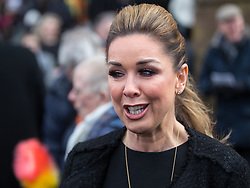 © Licensed to London News Pictures. 28/03/2018. Liverpool, UK.  CLAIRE SWEENEY leaves Liverpool Cathedral after the service . The funeral of comedian and performer Sir Ken Dodd , who died on 11th March 2018 at the age of 90 . Photo credit: Joel Goodman/LNP