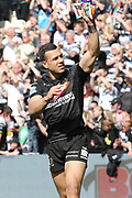 Hull FC outside back Carlos Tuimavave (3) waves to the crowd after the Betfred Super League match between Hull FC and Hull Kingston Rovers at Kingston Communications Stadium, Hull, United Kingdom on 19 April 2019.