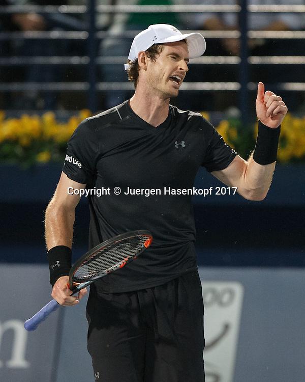 ANDY MURRAY (GBR)  reagiert veraergert,Aerger,Frust,Emotion,<br /> <br /> <br /> Tennis - Dubai Duty Free Tennis Championships - ATP -  Dubai Duty Free Tennis Stadium - Dubai -  - United Arab Emirates  - 2 March 2017. <br /> &copy; Juergen Hasenkopf