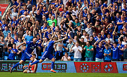 CARDIFF, WALES - Sunday, September 2, 2018: Cardiff City's Danny Ward celebrates scoring the second equalising goal to level the score at 2-2 during the FA Premier League match between Cardiff City FC and Arsenal FC at the Cardiff City Stadium. (Pic by David Rawcliffe/Propaganda)