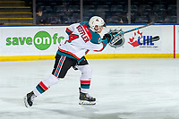 KELOWNA, CANADA - MARCH 13: Devin Steffler #4 of the Kelowna Rockets warms up with a shot on net against the Spokane Chiefs  on March 13, 2019 at Prospera Place in Kelowna, British Columbia, Canada.  (Photo by Marissa Baecker/Shoot the Breeze)