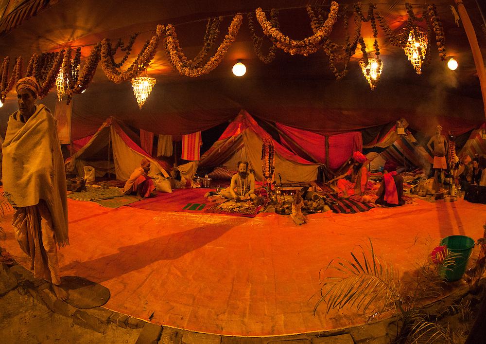 Juna Akhara, Maha Kumbh Mela festival, world's largest congregation of religious pilgrims. Allahabad, India.