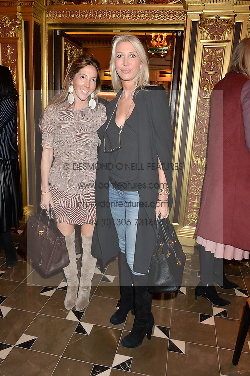 Left to right, DORIAN MAY and SAM EDGE at the Cash & Rocket Tour Announcement Launch Lunch in association with McArthur Glen was held at The Grill, The Dorchester, Park Lane, London on 12th March 2015.