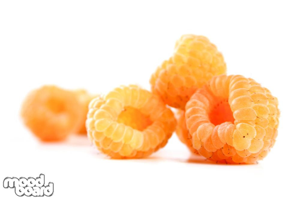 White raspberries on white background