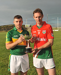 Club Captains Martin Hughes (Kindom Kerry Gaels) and Pat Kelly (Kilmaine) with the Padraig O'Dea Memorial Cup.<br /> Pic Conor McKeown