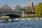 London, UK,  2014 Varsity, Annual Tideway Week. CUBC, Cambridge University Boat Club, Blue Boat, during training outing, watched by Steve TRAPMORE, Head Coach (left) and Roger STEPHENS, Chairman (right) in coaching launch. 09:43:41  Tuesday  01/04/2014  : [Mandatory Credit Intersport Images]<br /> CUBC. Bow. Mike THORP, 2. Luke JUCKETT, 3. Ivo DAWKINS, 4. Steve DUDEK, 5. Helge GRUETJEN, 6. Matthew JACKSON, 7. Joshua HOOPER, Stroke, Henry HOFFSTOT and cox Ian MIDDLETON