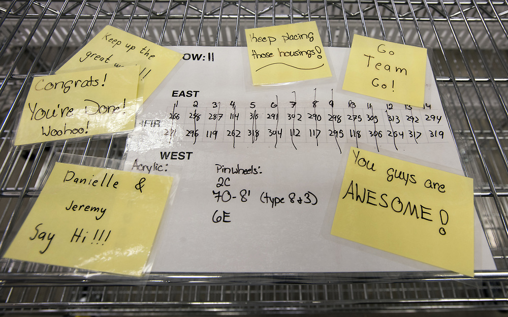 Photo by Mara Lavitt<br /> New Haven, CT<br /> November 17, 2017<br /> Photography: ©Mara Lavitt<br /> <br /> The final stages of building a neutrino detector at Yale University's Wright Lab. Encouraging notes between crew members.