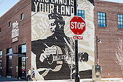 """This Machine Kills Facists"" mural on the Woody Guthrie Museum, Tulsa, Oklahoma."