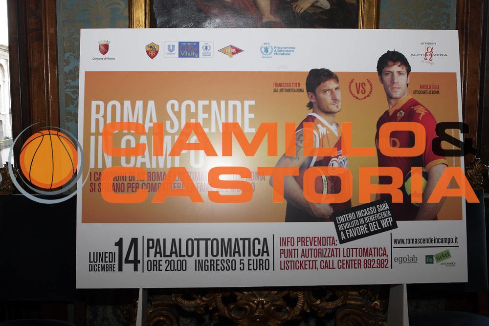 DESCRIZIONE : Roma Campidoglio Lega A 2009-10 Conferenza stampa presentazione di Roma scende in campo Lottomatica Virtus Roma As Roma Calcio<br /> GIOCATORE : Francesco Totti Angelo Gigli <br /> SQUADRA : Lottomatica Virtus Roma<br /> EVENTO : Campionato Lega A 2009-2010 <br /> GARA : <br /> DATA : 04/12/2009 <br /> CATEGORIA : Ritratto<br /> SPORT : Pallacanestro <br /> AUTORE : Agenzia Ciamillo-Castoria/G.Ciamillo<br /> Galleria : Lega Basket A 2009-2010 <br /> Fotonotizia : Roma Campidoglio Campionato Italiano Lega A 2009-2010 Presentazione di Roma scende in campo Lottomatica Virtus Roma As Roma Calcio<br /> Predefinita :