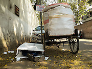 e2016, New Delhi. A man involved in waste collection sleeps sandwiched between polystyrene packing next to his rickshaw in New Delhi, India on the 3rd March 2016.<br /> <br /> Sleeping in the outdoors is common in Asia due to a warmer climate and the fact that personal privacy for sleep is not so culturally ingrained as it is in the West. New Delhi (where most of these images were taken) is a harsh city both in climate and environment and for those working long hours, often in hard manual labour, sleep and rest is something fallen into when exhaustion overwhelms, no matter the place or circumstance. Then there are the homeless, in Delhi figures for them from Government and NGO sources vary wildly from 25,000 to more than 10 times that. Others public sleepers may simply be travellers having a siesta along the way.<br />  <br /> <br /> PHOTOGRAPH BY AND COPYRIGHT OF SIMON DE TREY-WHITE, photographer in Delhi<br /> <br /> + 91 98103 99809<br /> email: simon@simondetreywhite.com