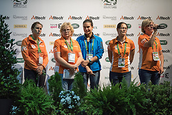 Esther Sneekes, Carola Sneekes(NED), Nolan, Marjo Sneekes - Individuals Women Compulsory Vaulting - Alltech FEI World Equestrian Games™ 2014 - Normandy, France.<br /> © Hippo Foto Team - Jon Stroud<br /> 02/09/2014
