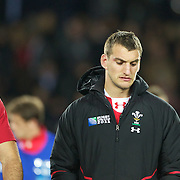 A disappointed welsh captain Sam Warburton, (right) after his teams loss during the Wales V France Semi Final match at the IRB Rugby World Cup tournament, Eden Park, Auckland, New Zealand, 15th October 2011. Photo Tim Clayton...