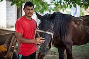 """Young Roma man with his horse named """"Gina"""" (as all the other horses) in the Roma area of Frumusani."""
