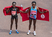 Mary Keitany KENand Tirunesh Dibaba ETH, first and second placed athletes in the Elite Women's Race. The Virgin Money London Marathon, 23rd April 2017.<br /> <br /> Photo: Thomas Lovelock for Virgin Money London Marathon<br /> <br /> For further information: media@londonmarathonevents.co.uk