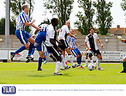 Cheltenham score their first goal during the Pre-Season Friendly match between Weston Super Mare and Cheltenham Town at the Woodspring Stadium, Weston Super Mare, United Kingdom on 18 July 2015. Photo by Carl Hewlett