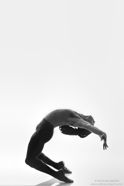 Black and white dance photography- Dance As Art Studio Series with dancer Kevin Mimms