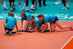 09-08-2019 NED: FIVB Tokyo Volleyball Qualification 2019 / Netherlands, - Korea, Rotterdam<br /> First match pool B in hall Ahoy between Netherlands - Korea (3-2) for one Olympic ticket / Floorcrew, moppers, cleaning
