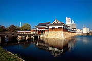 """The gateway to Hiroshima's """"Carp"""" Castle in Hiroshima, Japan. The castle was originally built in the 1590s by the feudal lord Mori Terumoto, but was destroyed by the atomic bombing in 1945. Once the location of Japan's Imperial GHQ, the castle was rebuilt in 1958."""