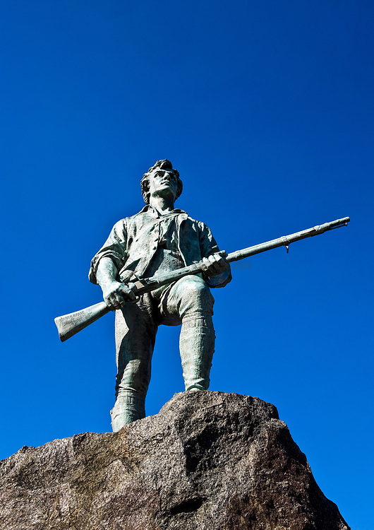 Minute Man Sculpture, Battle Green, Lexington, MA. Site of the first shots of the American revolution