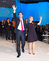 Ed Miliband with wife Justine Miliband after his speech during the Labour Party Conference in Manchester,October 2 2012, Photo by Elliott Franks / i-Images