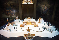 © Licensed to London News Pictures. 21/11/2016. Castle Howard UK. Castle Howard one of Britain's most famous stately homes where the 1981 TV drama Brideshead Revisited was filmed has been recreated using gingerbread & icing as part of Castle Howard's Christmas decoration's. The cake measures 4 metres by 3m & cost £20,000. Photo credit: Andrew McCaren/LNP