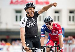 Winner De Marchi Mattia of A.S.D Cycling team Friuli and second placed Rogina Radoslav of Adria Mobil at finish line during cycling race 48th Grand Prix of Kranj 2016 / Memorial of Filip Majcen, on July 31, 2016 in Kranj centre, Slovenia. Photo by Vid Ponikvar / Sportida