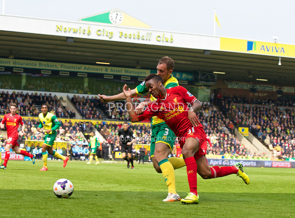 NORWICH, ENGLAND - Sunday, April 20, 2014: Liverpool's Raheem Sterling in action against Norwich City during the Premiership match at Carrow Road. (Pic by David Rawcliffe/Propaganda)