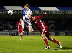 Rory Gaffney of Bristol Rovers is challenged by Sean Morrison of Cardiff City - Rogan Thomson/JMP - 11/08/2017 - FOOTBALL - Memorial Stadium - Bristol, England - Bristol Rovers v Cardiff City - EFL Cup First Round.