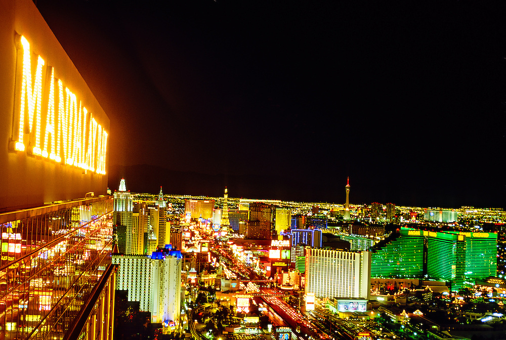 Looking north from Mandalay Bay up the Strip (Las Vegas Boulevard), Las Vegas, Nevada USA