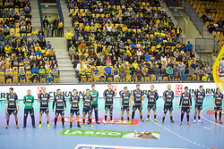Players of Flensburg during handball match between RK Celje Pivovarna Lasko and SG Flensburg Handewitt in VELUX EHF Champions League, on November 26, 2017 in Dvorana Zlatorog, Celje Slovenia. Photo by Ziga Zupan / Sportida
