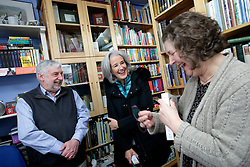 UK ENGLAND FOWEY 19FEB15 - Ann & David Willmore, proprietor of Bookends of Fowey, Cornwall, England, a specialist bookshop on literature by famous English novelist Daphne Du Maurier with biographer Tatiana De Rosnay. Fowey, a small fishing and harbour village was the living place of famous English writer Daphne Du Maurier and many of her novels are based here.<br /> <br /> jre/Photo by Jiri Rezac<br /> <br /> © Jiri Rezac 2015